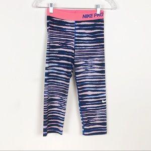 Nike Pro Tiger Stripe Printed Capri Leggings Small